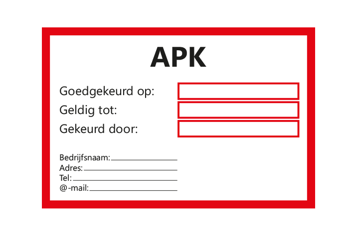 Controle stickers > Servicestickers > APK gekeurd tot stickers - Rood