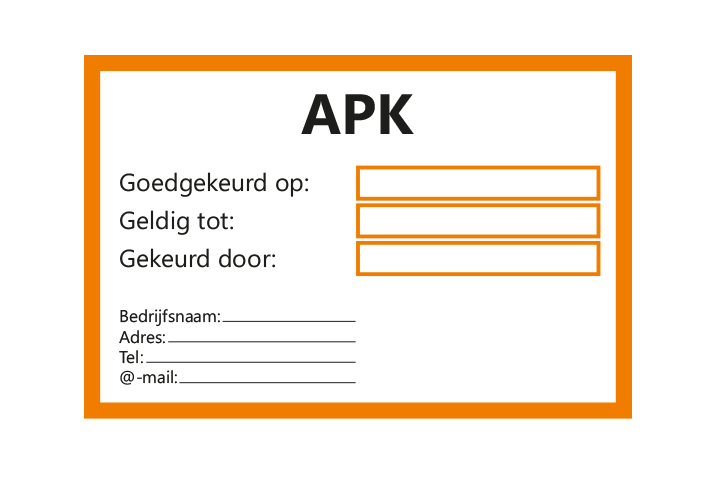 Stickers per Branche > Automotive > APK - APK 1 oranje