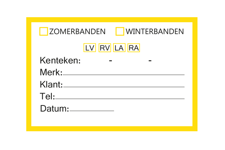 Controle stickers > Servicestickers > Winter/Zomerbanden stickers - Geel
