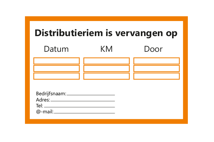 Stickers per Branche > Automotive > Distributieriem - Distributieriem 1 oranje