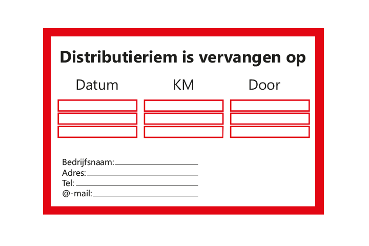 Stickers per Branche > Automotive > Distributieriem - Distributieriem 1 rood