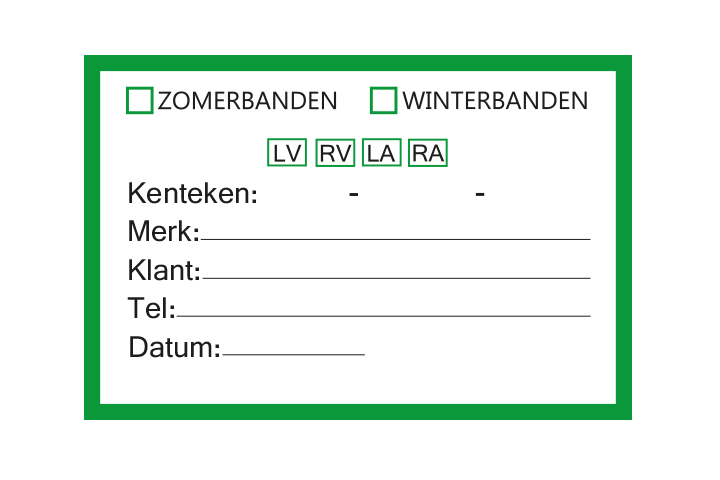 Controle stickers > Servicestickers > Winter/Zomerbanden stickers - Groen