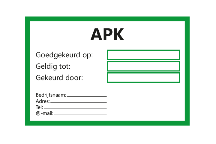 Controle stickers > Servicestickers > APK gekeurd tot stickers - Groen