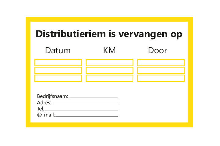 Stickers per Branche > Automotive > Distributieriem - Distributieriem 1 geel