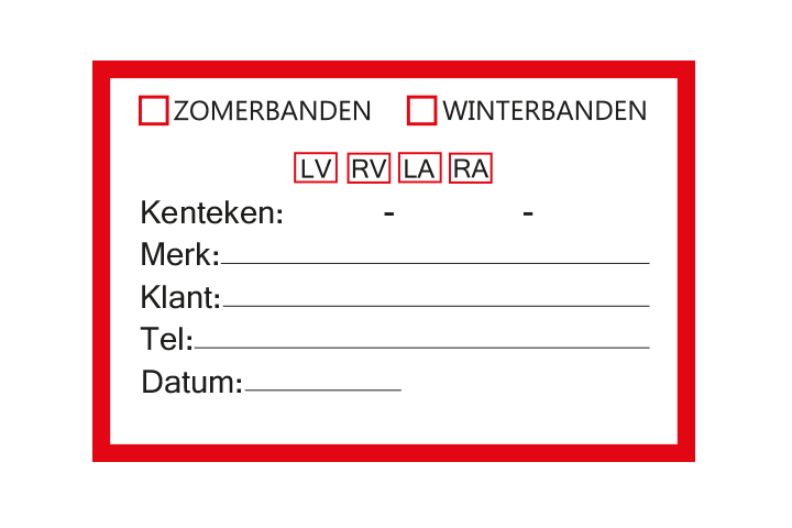Controle stickers > Servicestickers > Winter/Zomerbanden stickers - Rood