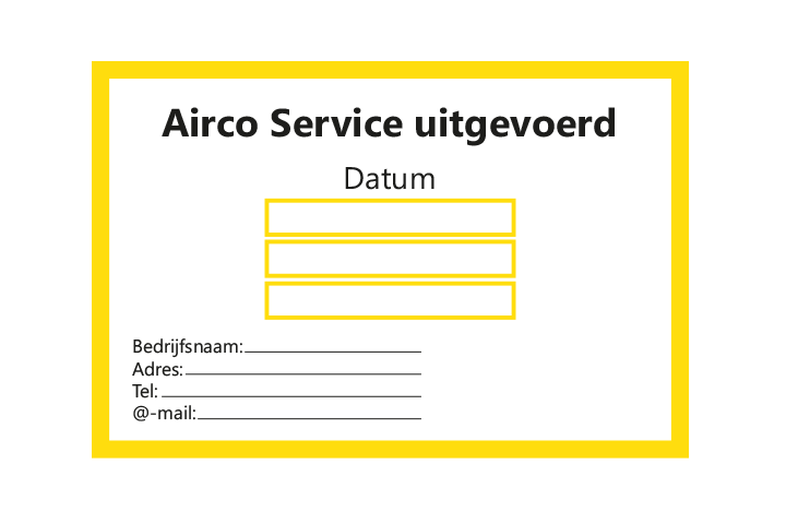 Controle stickers > Servicestickers > Airco Service stickers - Geel