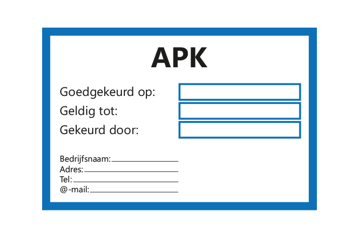 Controle stickers > Servicestickers > APK gekeurd tot stickers - Blauw