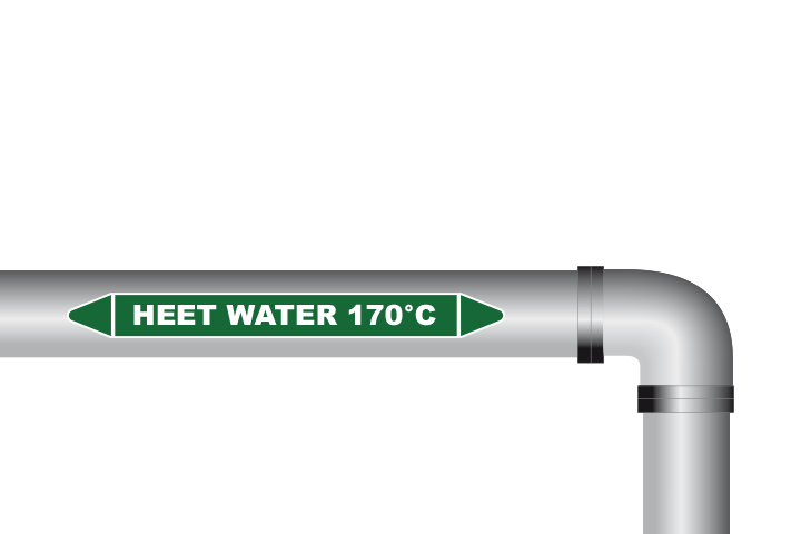 Heet water 170°C sticker