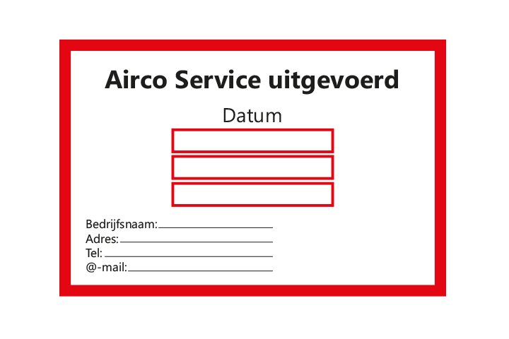 Controle stickers > Servicestickers > Airco Service stickers - Rood