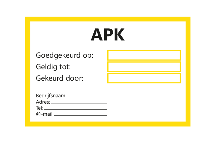 Controle stickers > Servicestickers > APK gekeurd tot stickers - Geel