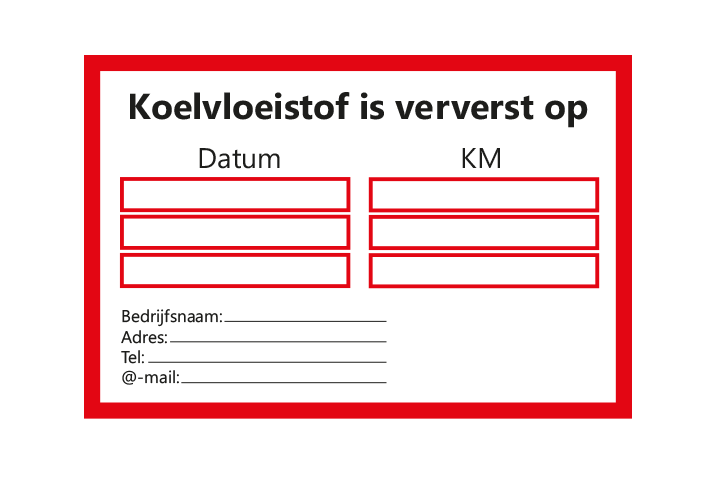 Controle stickers > Servicestickers > Koelvloeistof stickers - Rood