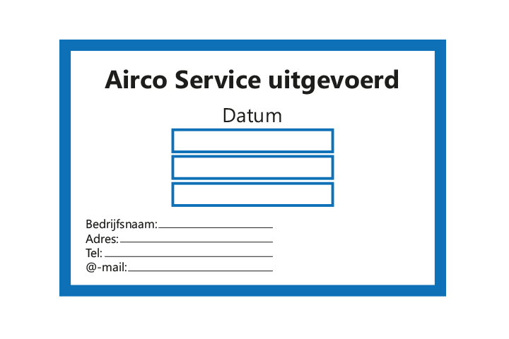 Controle stickers > Servicestickers > Airco Service stickers - Blauw