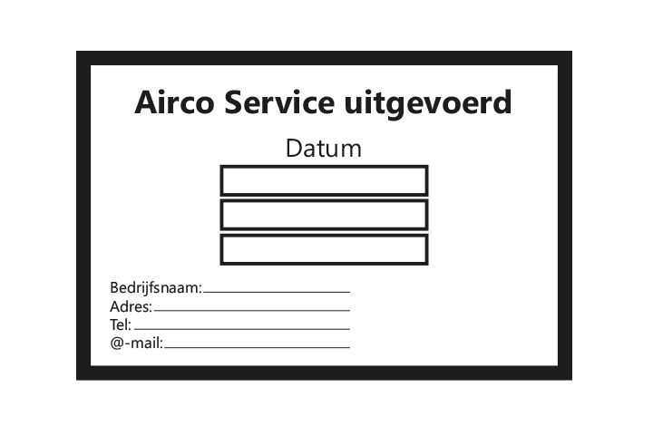 Controle stickers > Servicestickers > Airco Service stickers - Zwart