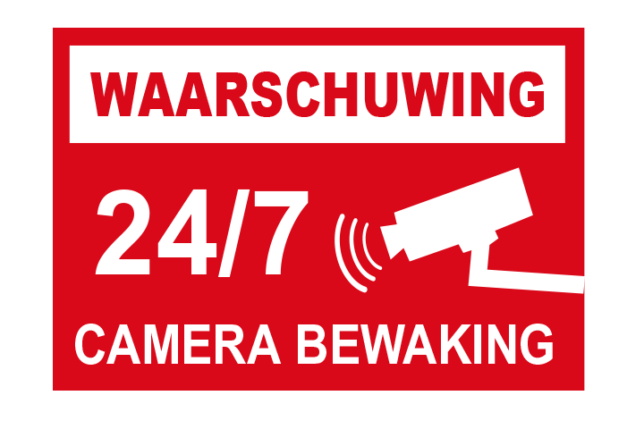 Camerabewaking sticker 24 uur