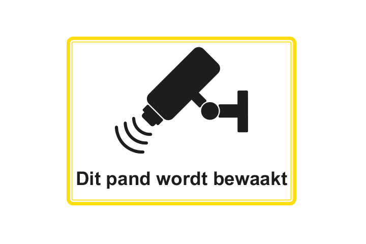Stickers per Branche > Kantoor stickers > Camerabewaking stickers - Camerabewaking 1 geel